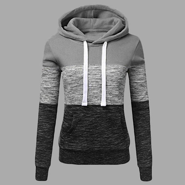 Oksale Fashion Womens Casual Hoodies Sweatshirt Patchwork Ladies Hooded Blouse Pullover