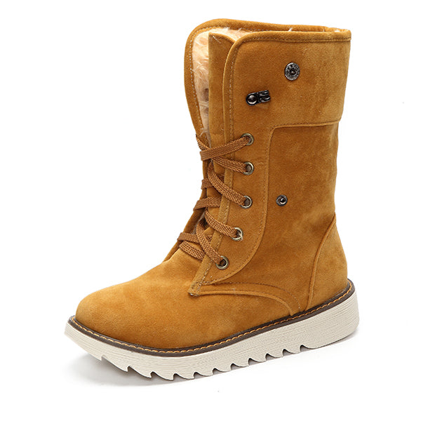 US Size 5-13 Winter Women Suede Boots Casual Outdooors Mid Calf Snow Boots