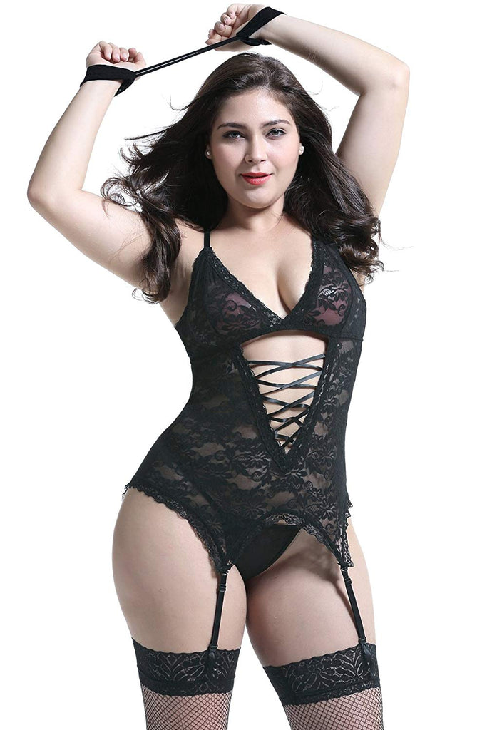 Plus Size Lingerie Sets Stretchy Lace Women Lingerie Chemise Nightwear