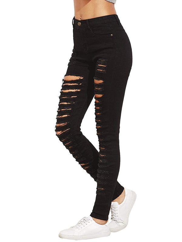 High Waist Ripped Skinny Jeans Distressed Denim Pants