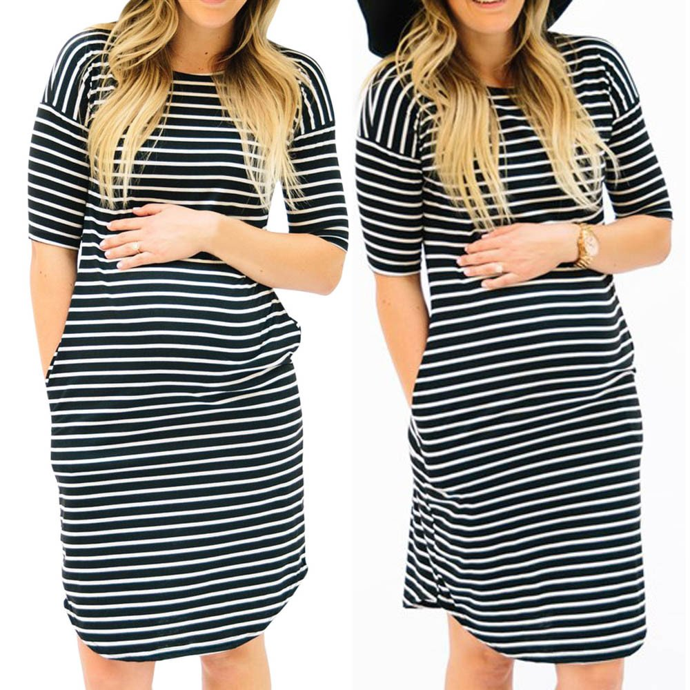 Mom Maternity Nursing Stripe Short Sleeve T-Shirt O-Neck Blouse Tops