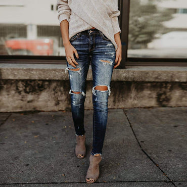 TOPUNDER Hight Waisted Jeans for Women Skinny Hole Denim Jeans Stretch Slim Pants