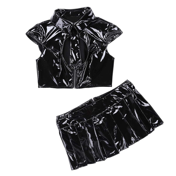 YiZYiF Women's PVC Leather Wet Look School Girl Costume Lingerie Set with Tie Top Mini Skirt