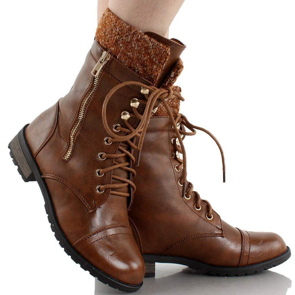 Lace Up Knit Ankle Cuff Low Heel Combat Boots.