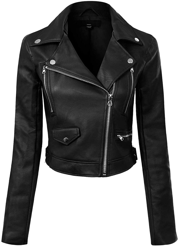 Design by Olivia Women's Long Sleeve Zipper Closure Moto Biker Faux Leather Jacket.