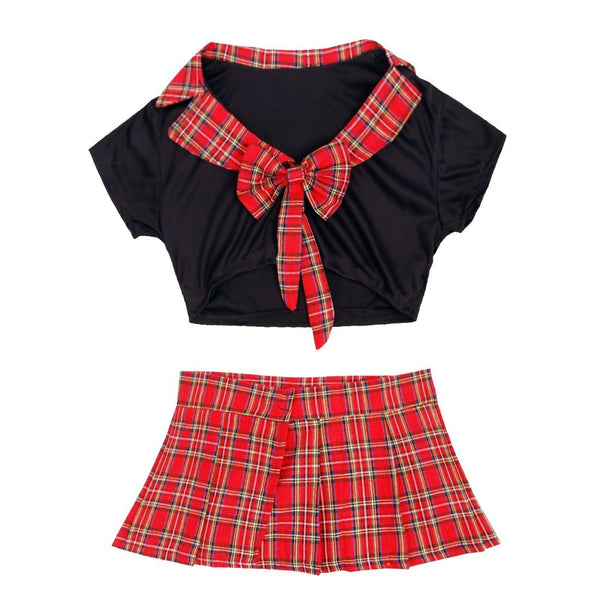 Agoky Women's Sexy School Girl Uniform Sets Crop Top with Mini Plaid Skirt Role Play Costume Outfits