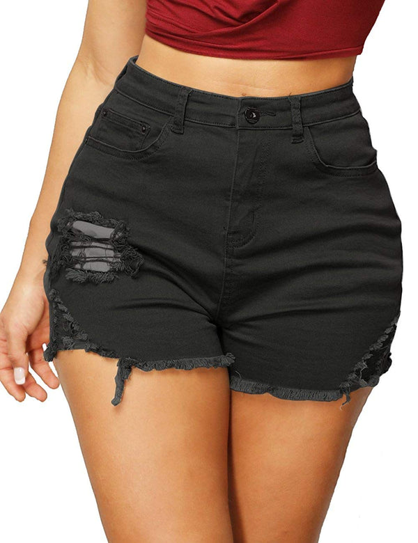 Haola Women's High Waist Shorts Juniors Summer Stretch Distressed Denim Shorts