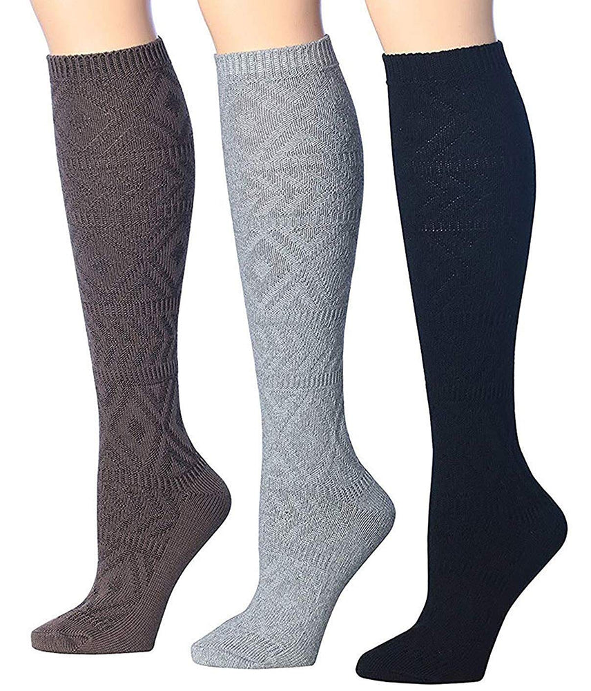 Tipi Toe Women's 3-Pairs Winter Warm Knee High Cotton-Blend Boot Socks