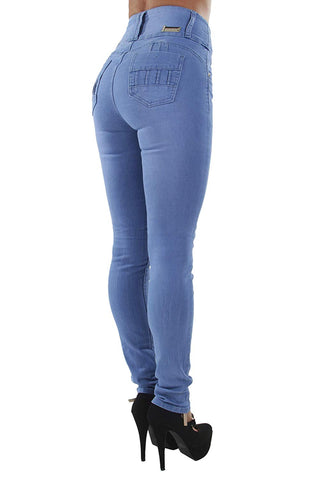 Latina Design Butt Lift Push Up Mid/High Waist Skinny Denim Jeans (ML2)