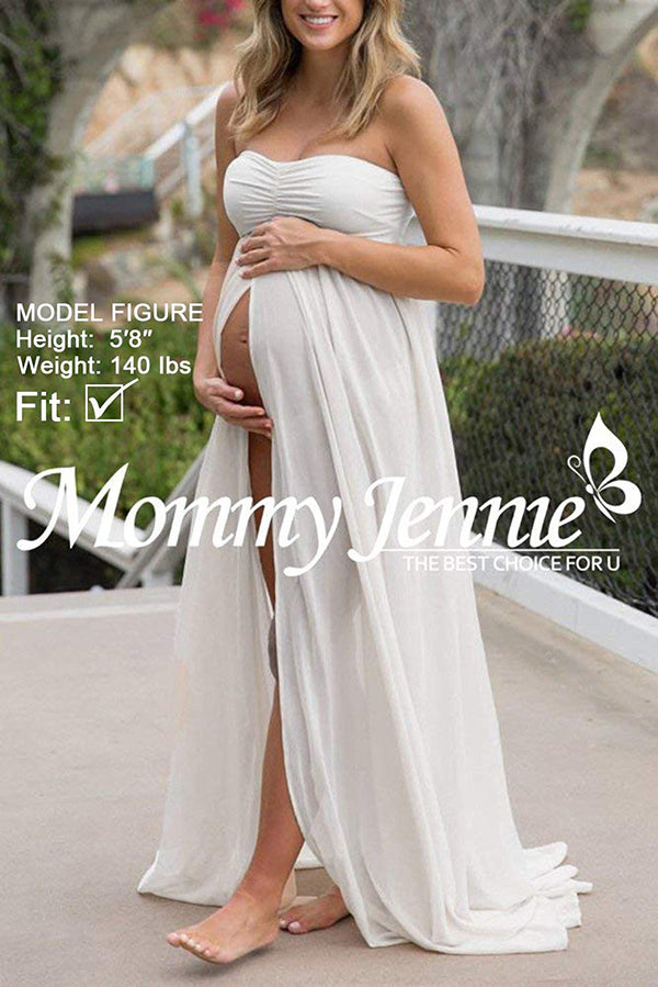 Maternity Off Shoulder Chiffon Gown Split Front Maxi Pregnancy Photography Dresses for Photoshoot