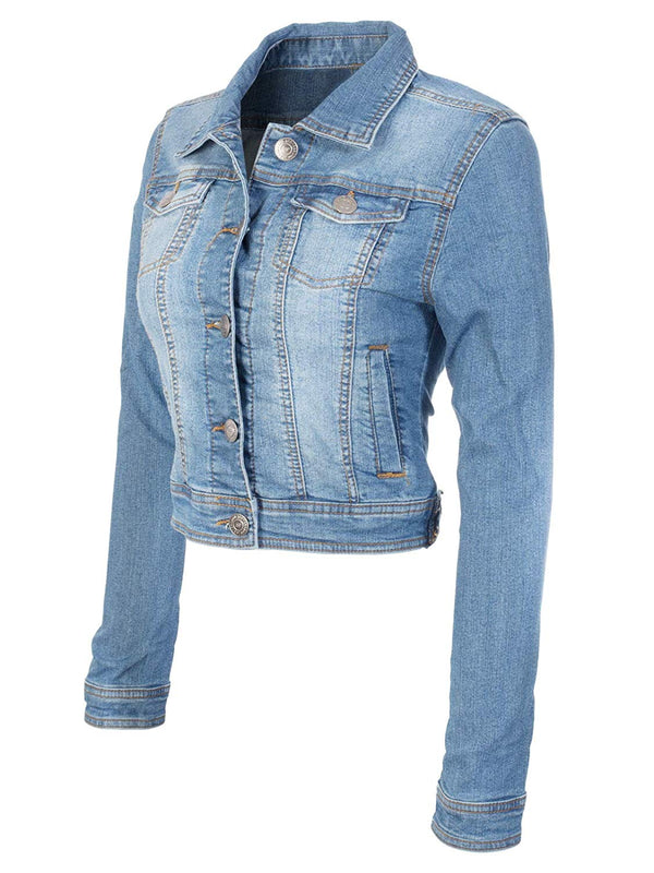 Instar Mode Women's Classic Casual Vintage Denim Jean Jacket/Vest