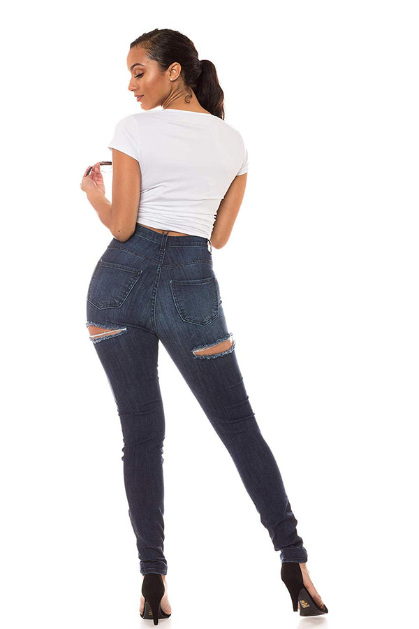 High Waisted Jeans for Women - High Rise Skinny Womens Hand Distressed Ripped Jeans
