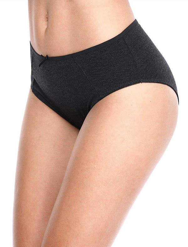 ATTRACO Women's Cotton Brief Panties Soft Underwear Lace Trim Hipster 4 Pack