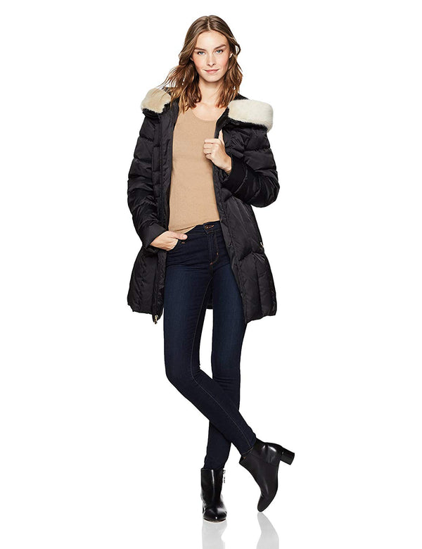 Haven Outerwear Women's Chevron Puffer Coat with Faux Fur Trim