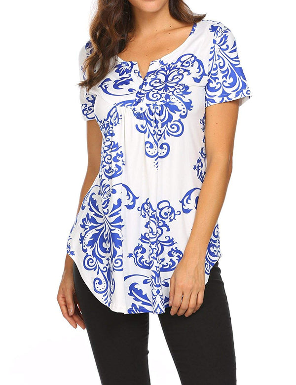Women's Paisley Printed Long Sleeve Henley V Neck Pleated Casual Flare Tunic Blouse Shirt
