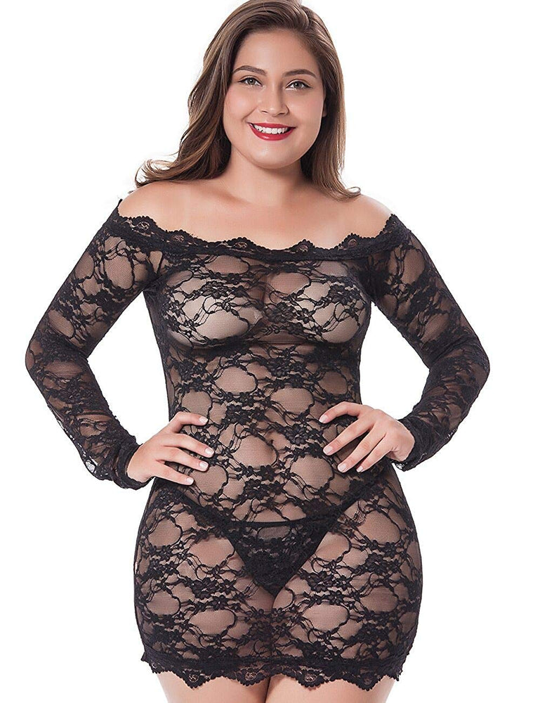 Womens Regular and Plus Size Chemise Floral Lace Off Shoulder See Through Bodysuit