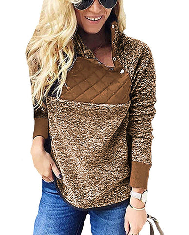 Button Neck Splice Geometric Pattern Fleece Pullover Coat Sweatshirts Outwear