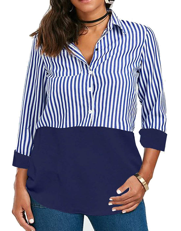 Women Long Sleeve Blouse T Shirt Tops Tunic Button Blouses Work Ladies Striped Tshirt.