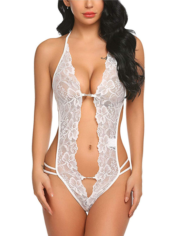 Deep V Lingerie Lace Babydoll Mini Bodystocking