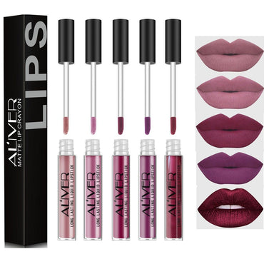 5 Pcs Matte Liquid Lipstick Waterproof Long-Lasting Pigmented Lip Gloss