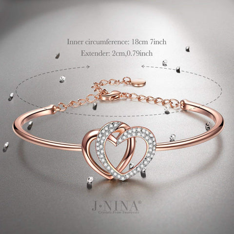 Rose-Gold Plated Women Bangle Bracelet, Crystal.