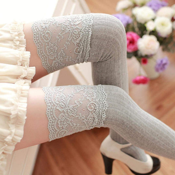 Winter Over Knee Leg Warmer Soft Cotton Lace Socks Leggin