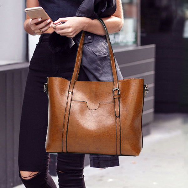 Women Tote Handbags Vintage Front Pocket Shoulder Bags