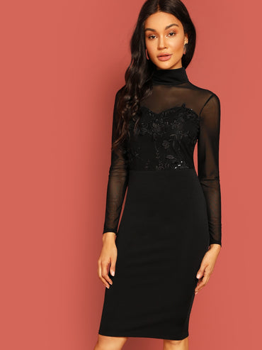 High Neck Embroidered Mesh Sweetheart Pencil Dress