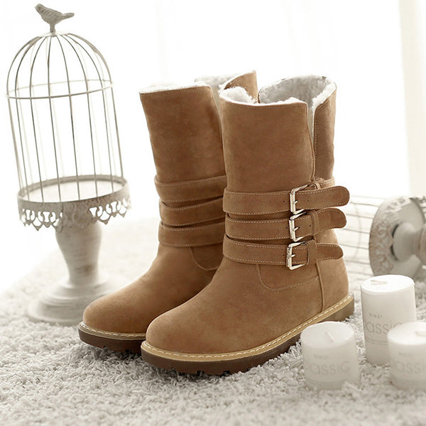 Winter Comfy Keep Warm Slip On Buckle Casual Cotton Ankle Snow Boots