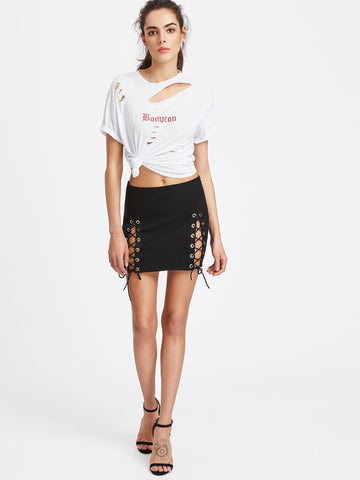 Double Slit Lace Up Mini Skirt