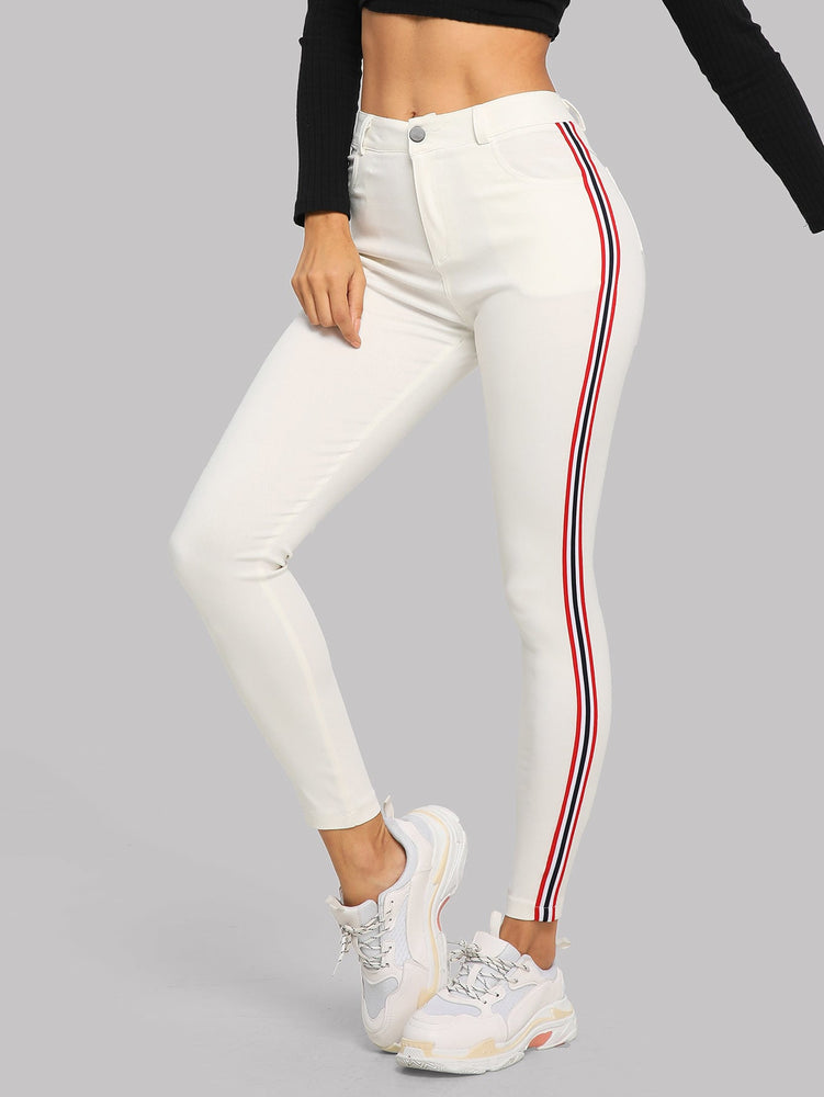 Contrast Tape Skinny Jeans