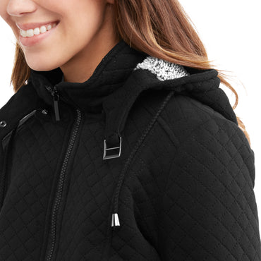 Yoki Women's Quilted Sherpa Lined Fleece Jacket With Removable Hood