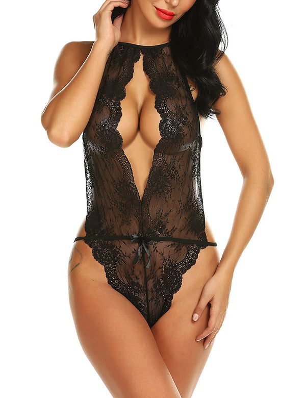 Open Pants Teddy Halter Backless Nighties Open Front Floral Lace with Charming Patch Lingerie
