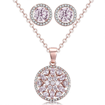 Jewelry Sets Fashion CZ Stud Earrings Women Necklace Earring Set-Gift