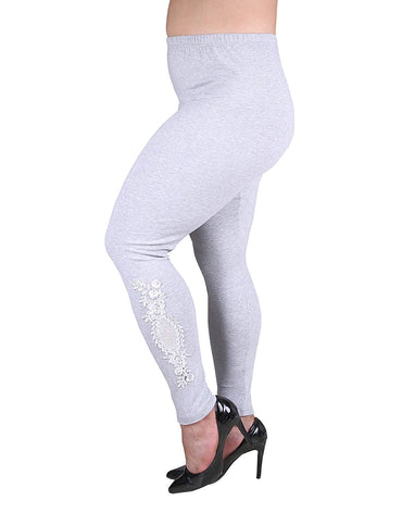 Plus Size Full Length Cotton Stetchy Leggings with Lace Pattern.