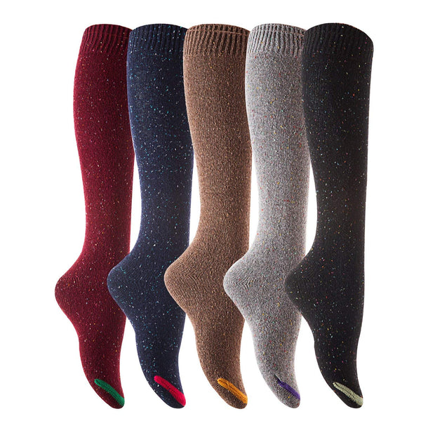 Lovely Annie Women's 5 Pairs Pack Knee High Cotton Socks Size 7-9