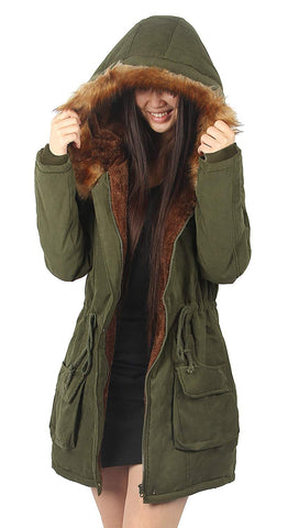 Hooded Warm Coats Parkas with Faux Fur Jackets