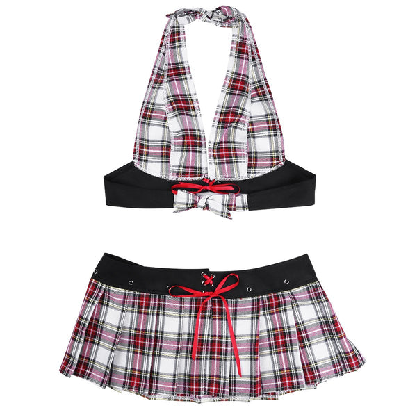 iEFiEL Women's 2Pcs Sexy Lingerie Set Schoolgirl Uniform Role Play Cosplay Costumes Outfit Mini Plaid Skirt