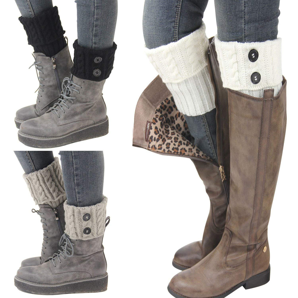 Bestjybt 3 Pairs Womens Short Boots Socks Crochet Knitted Boot Cuffs Leg Warmers Socks