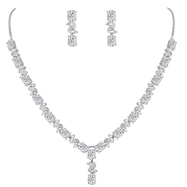 Cubic Zirconia Oval Shape Leaf Necklace Earrings Set for Brides and Weddings