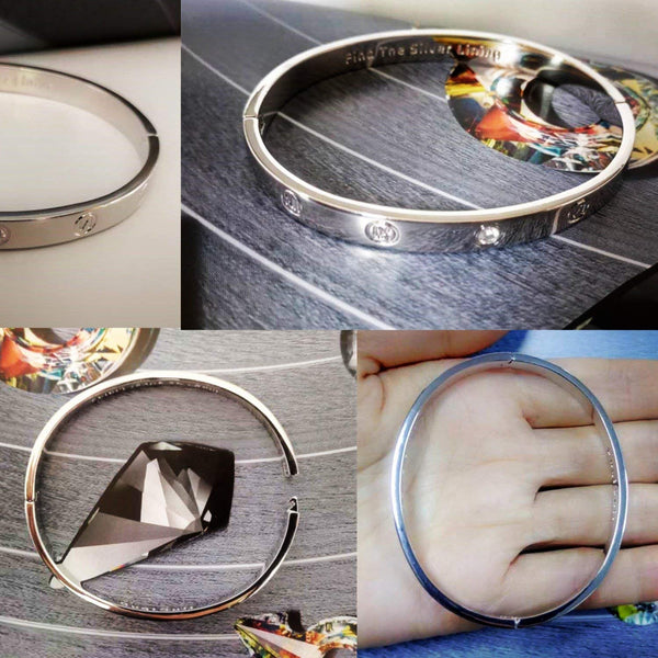 14k Yellow/Rose/White Gold Plated Fashion Idiom Hinged Bangle Bracelets