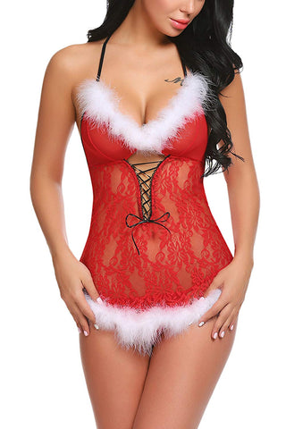 Christmas Lingerie Red Babydolls Santa Dress Lace Chemise.