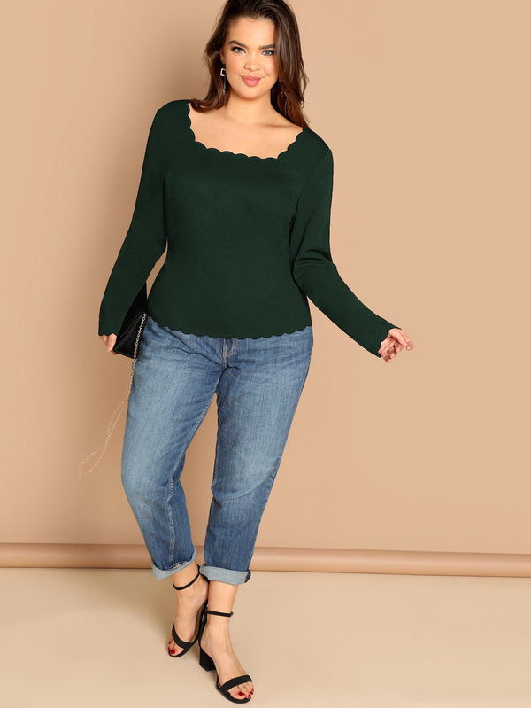 Plus Scallop Trim Square Neck Tee