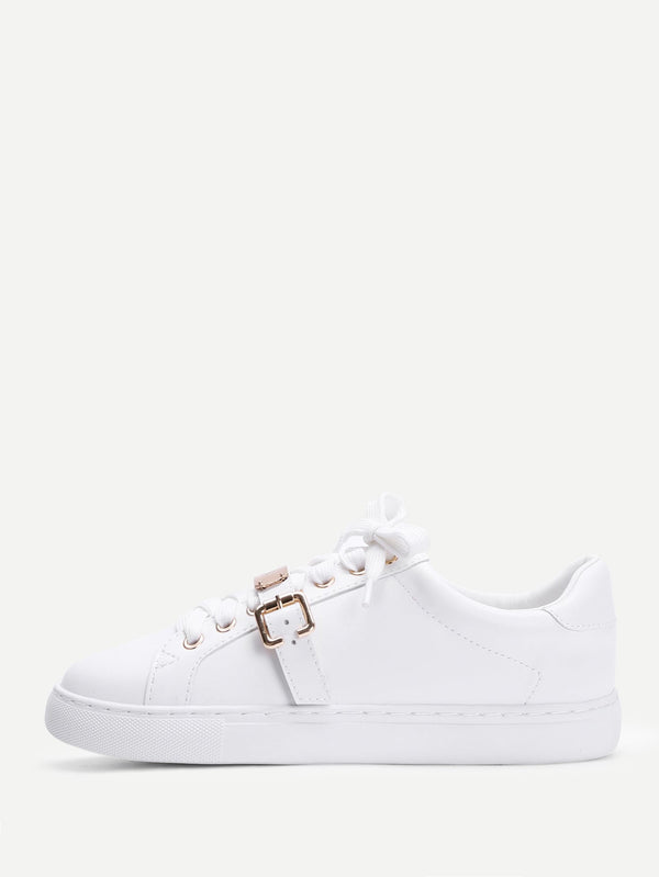 Metal Detail Lace Up Sneakers