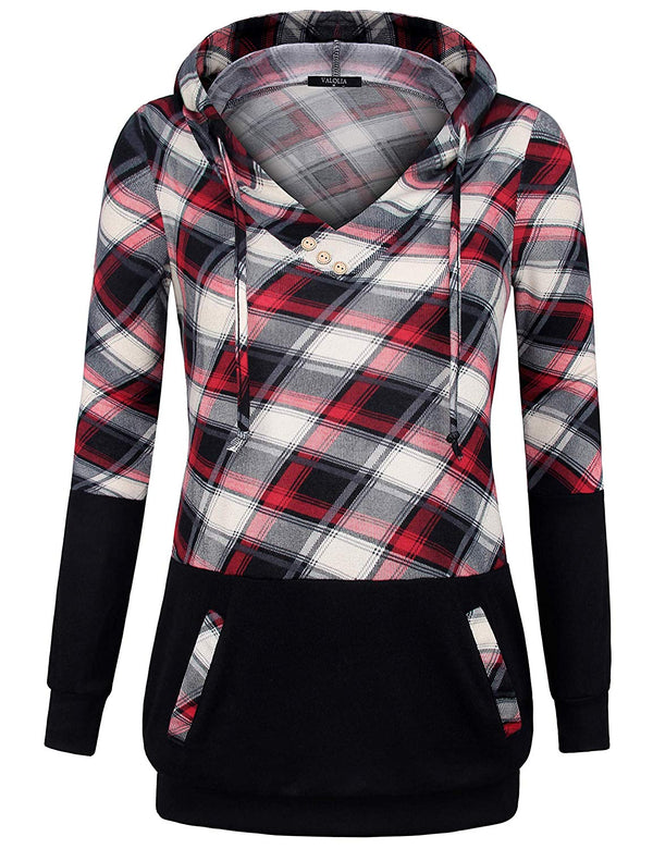 Long Sleeve Plaid Pullover Color Block Hooded Sweatshirt with Kangaroo Pockets