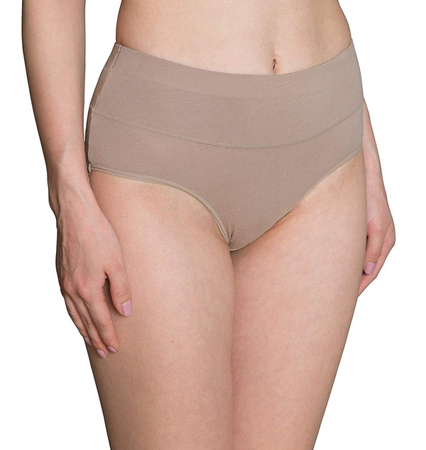Innersy Women's High Cut Solid Color Tummy Control Cotton Underpants Briefs 5-Pack