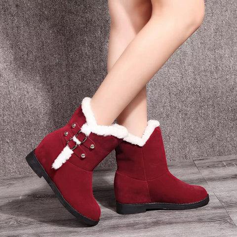 Winter Warm Faux Fur Lining Buckle Round Toe Ankle Snow Boots