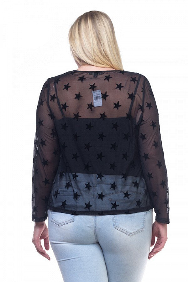 Ladies fashion plus size star mesh long sleeve shirt