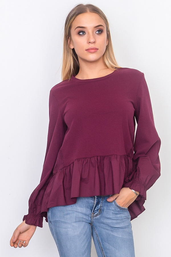 Contrast woven ruffle sleeve round neck top