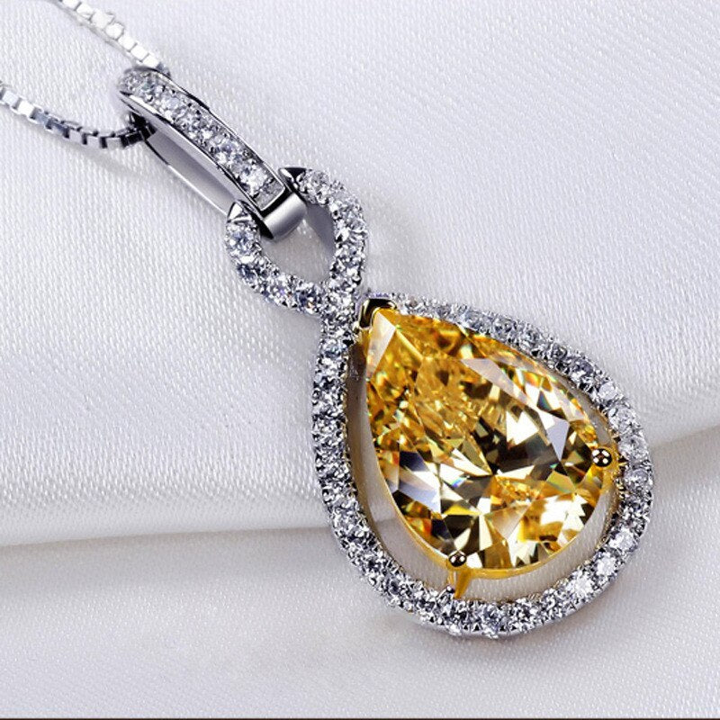 Yellow Water Drop Pendants Sterling Silver Long Necklace Elegant.